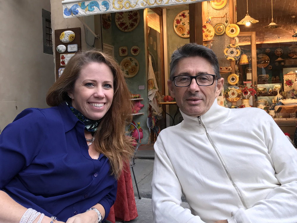 Jessica Henry with our host, Raffaele Nobile, owner, Tuscany in the Frame, in Cortona, Italy