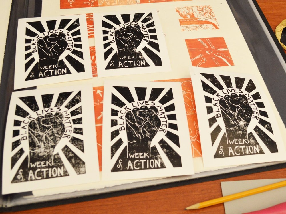Alex Huttsinger demonstrated how to make social justice prints.