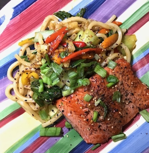 Salmon & Udon Noodles Stir-Fry with Sweet Peppers, Bok Choy, & Furikake