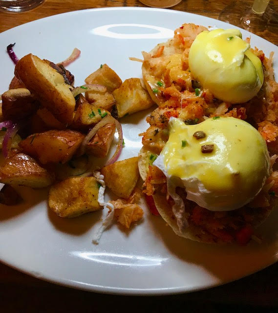 LOBSTER BENEDICT - FRESH LOBSTER, HOLLANDAISE, ENGLISH MUFFIN, AND HOME FRIES