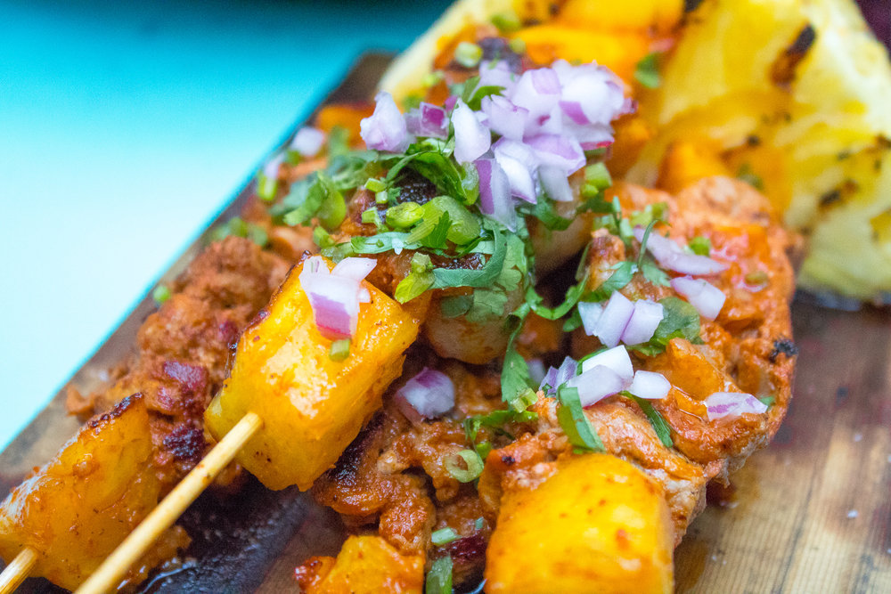 PORK BELLY AL PASTOR SKEWERS W/ GRILLED PINEAPPLE