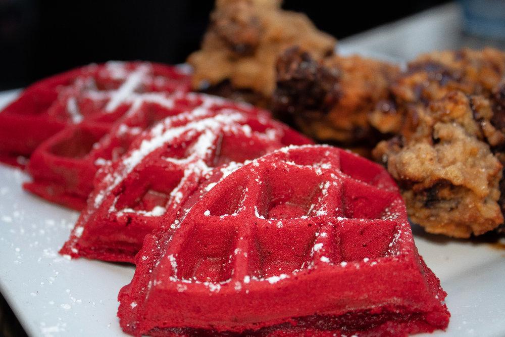 Fried Chickent & Red Velvet Waffle
