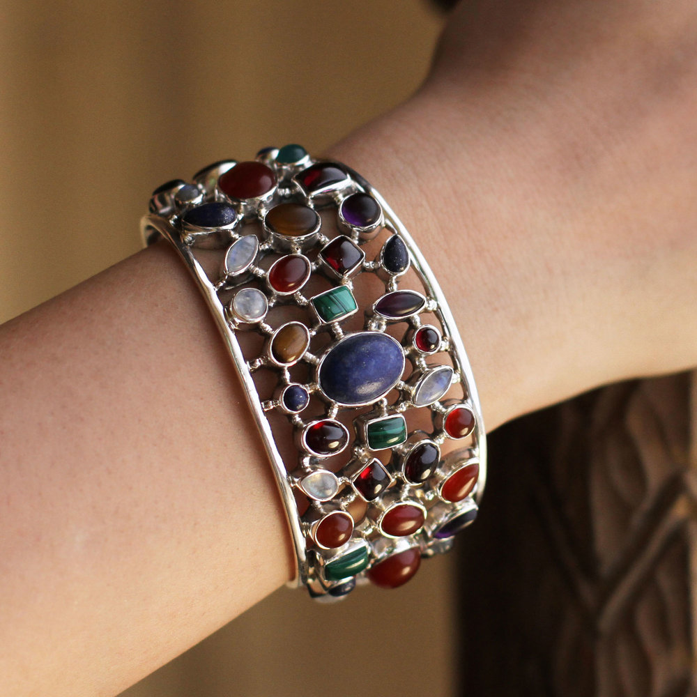 Multi-gemstone cuff bracelet, 'Shimmering Confetti'.jpg