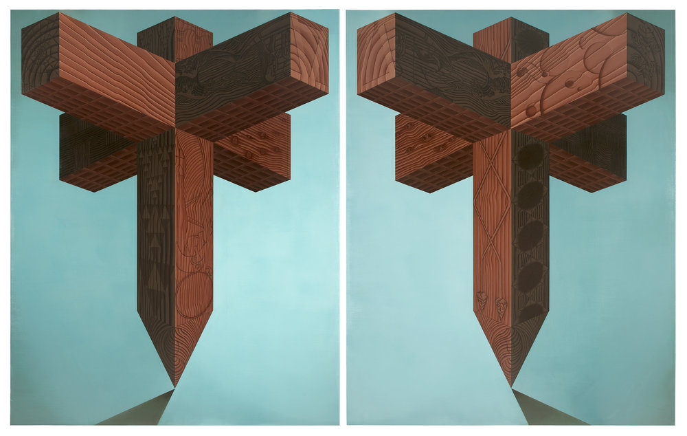 Dale Adcock, Template I & II, 2010-2011, Oil On Linen; 245 x 195 cm,