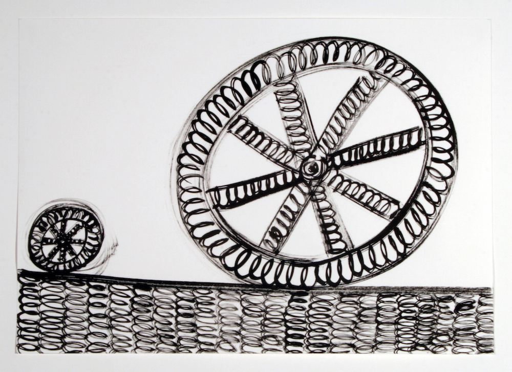 Sam Porritt, Wheel With Acolyte, 2012. Brush and Ink on Paper; 42 x 59 cm. Image courtesy of the artist.