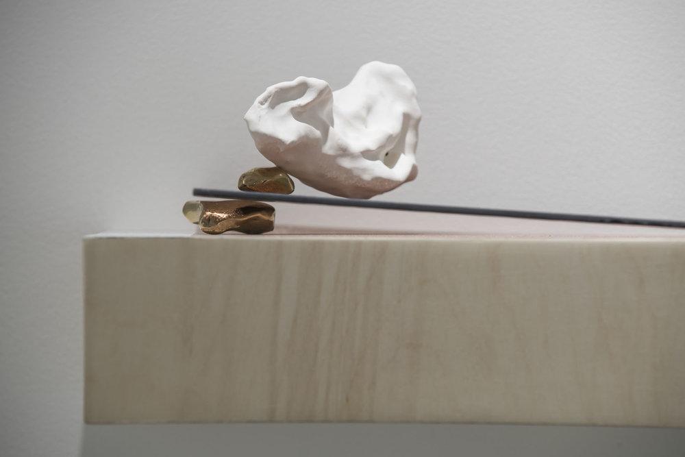 Kate McMillan, Untitled (detail), 2016. Plaster of paris, glass, bronze, acrylic paint, plywood; 16 × 30 × 23 cm.