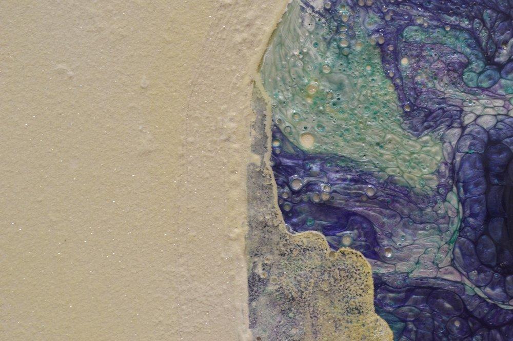 Matt Gee, Canyon bordering on Gotham (detail), 2015. Enamel paint, Stone Effect paint, Magnesium Potassium Sulphate, Polyurethane. Photo courtesy of Steven Gee, London-based artist.