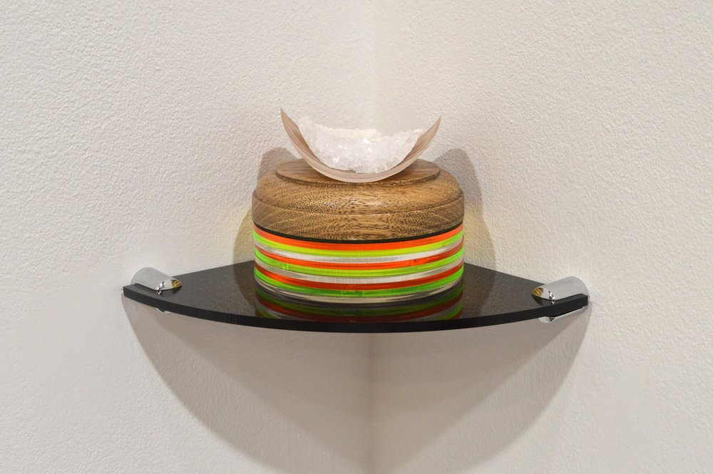 Salty Pringle, 2015. Magnesium Potassium Sulphate, wood, perspex. All photos courtesy of Steven Gee, London-based artist.