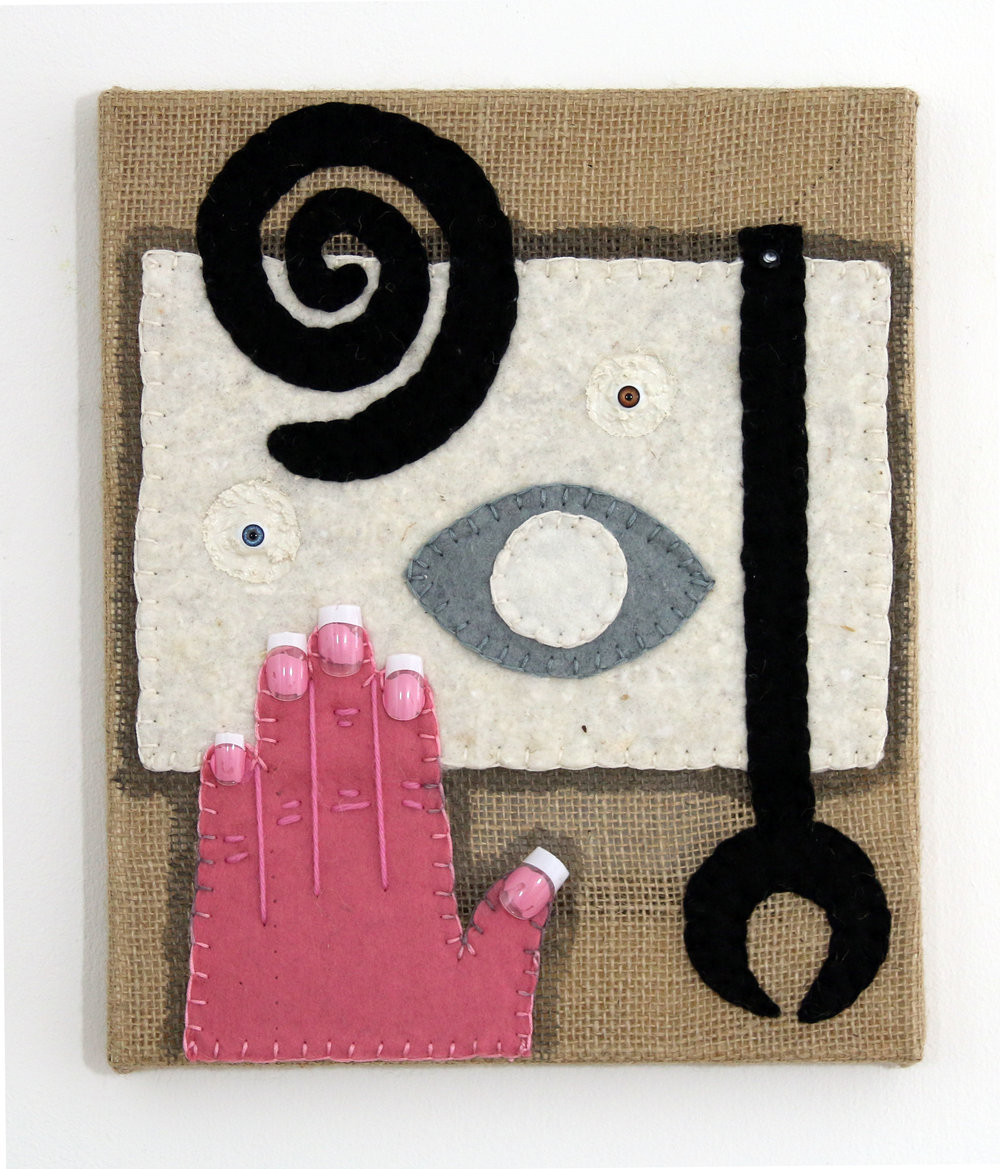 Jonathan Baldock, Citizens, 2015. Hessian, raw cotton, felt, acrylic paint, false nails, dolls eyes, silk thread, wood. Image courtesy of VITRINE.