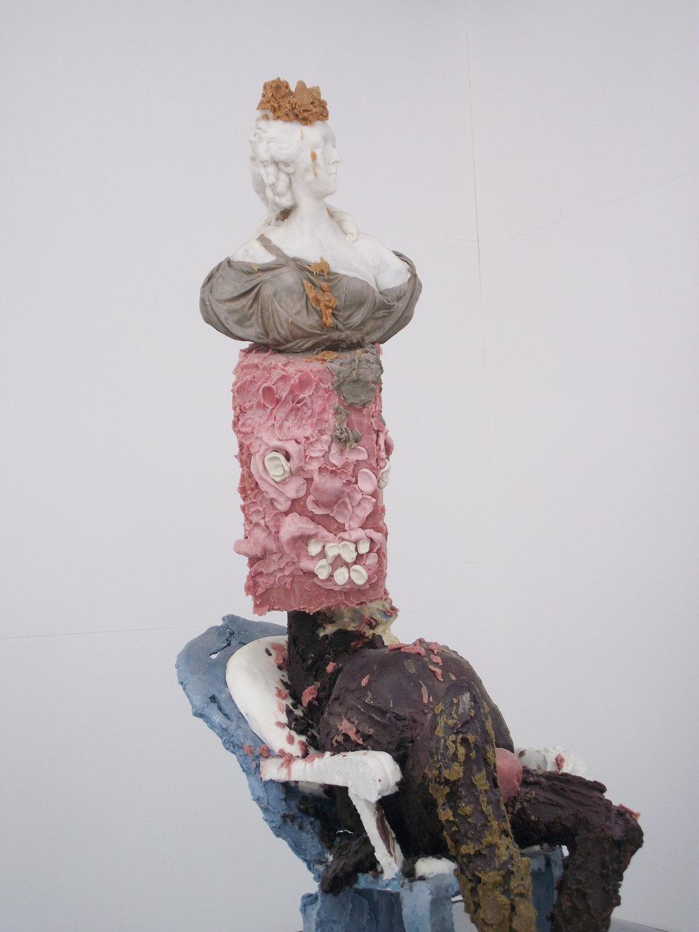 Jamie Fitzpatrick, The Queen (detail), 2015. Wax, Polyurethane Foam, Polystyrene, Steel; 230 x 72 x 130 cm. Image courtesy of the artist.