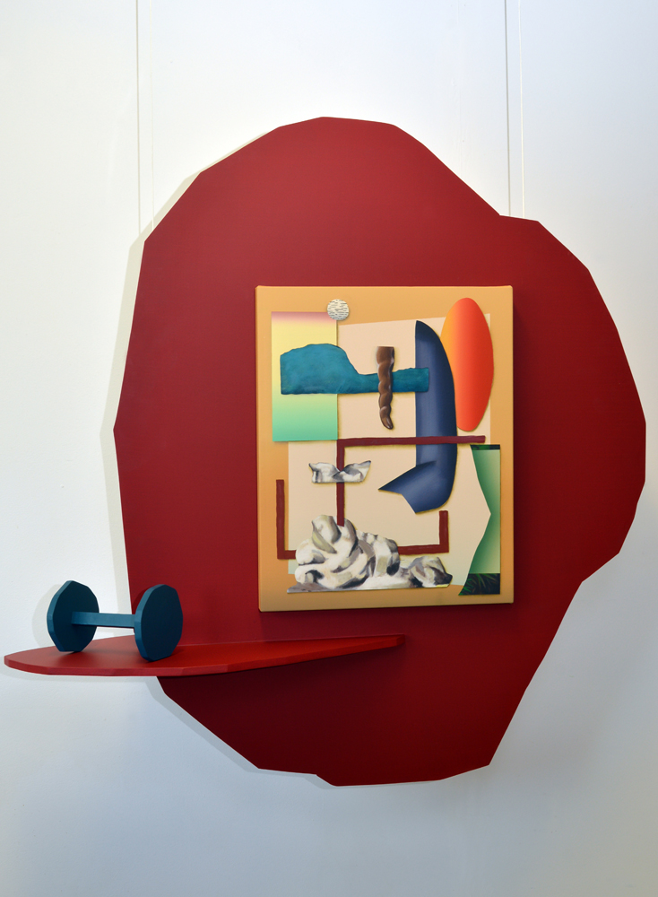 Lee Marshall with Alex Strachan, Act I: Gymnasium, 2014. Artists' objects on Painted MDF; 110 x 105 x 40 cm. Includes  Lee Marshall, Leger's Lady, 2013 (Acrylic on Canvas; 42 x 52 cm)  and  Alex Strachan, Dumbbell, 2014 (Acrylic on MDF and Wood) .