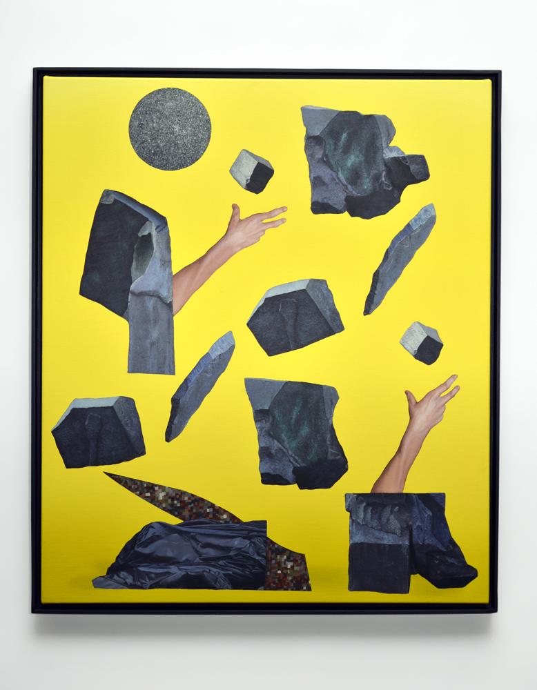 Geology Juggle, 2013. Acrylic on Canvas in Custom Frame; 57.7 x 67 cm.