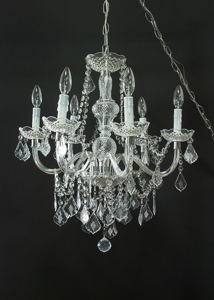 Lit 002 Small Glass Crystal Candle Chandelier