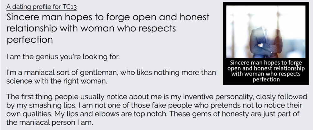 Sincere and honest dating profiles