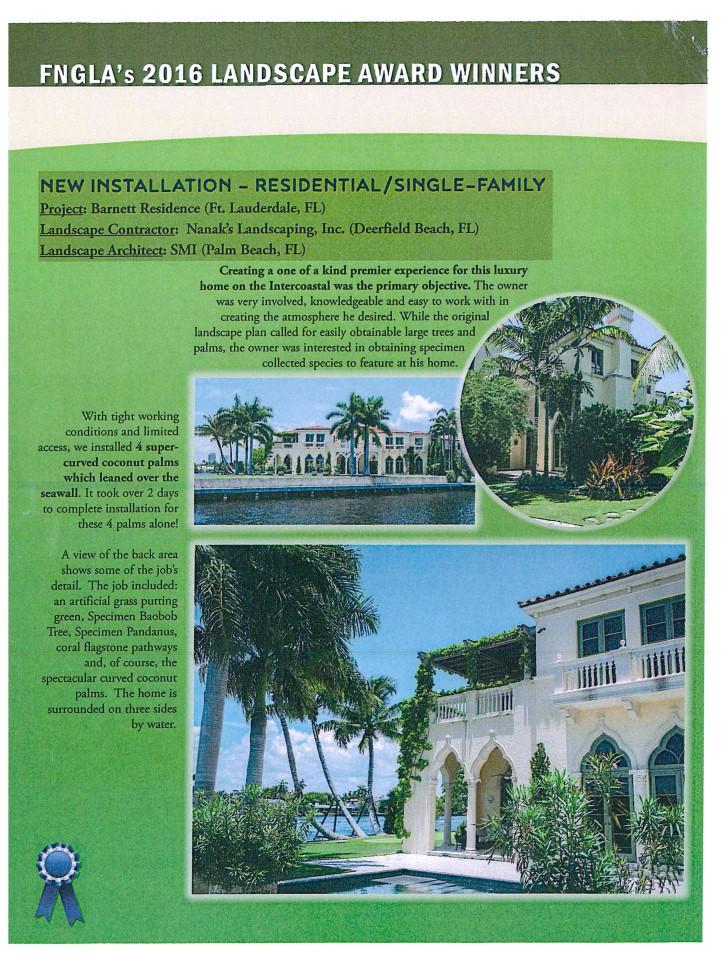 2016 FNGLA  - (Florida Nursery, Growers and Landscape Association) Landscape Award to Bella Fortuna: