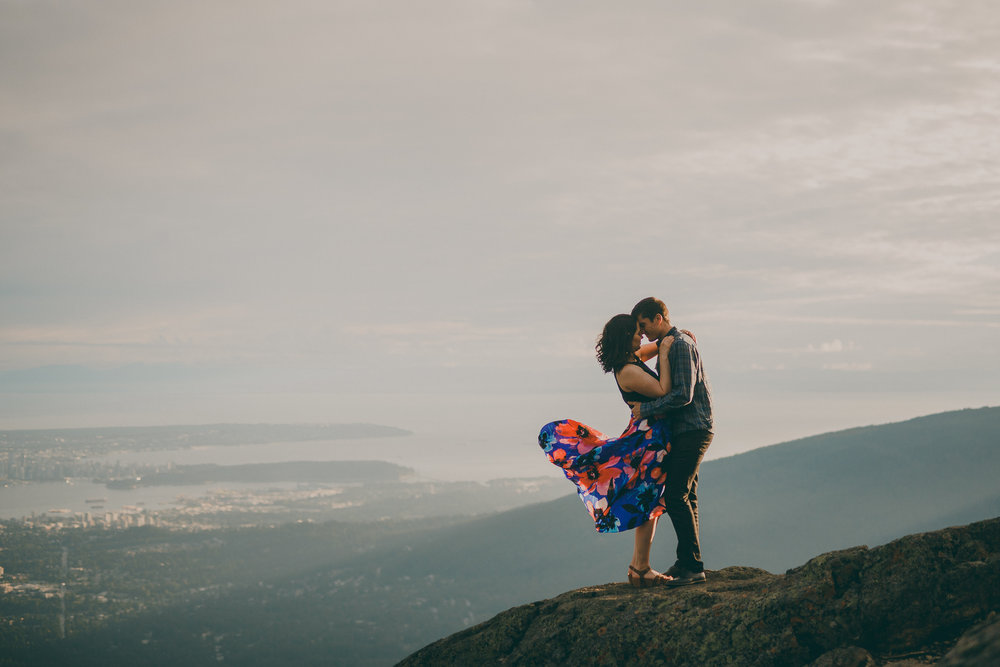 dog mountain engagement photos
