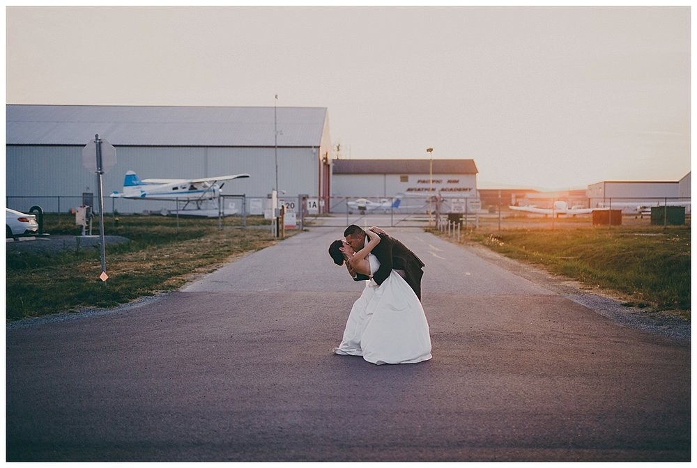 sky hangar wedding photos