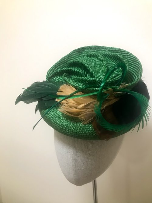 Green Parasisal Swirl Fascinator — Hats by Kat and Accessories Too 7f7b1acea89