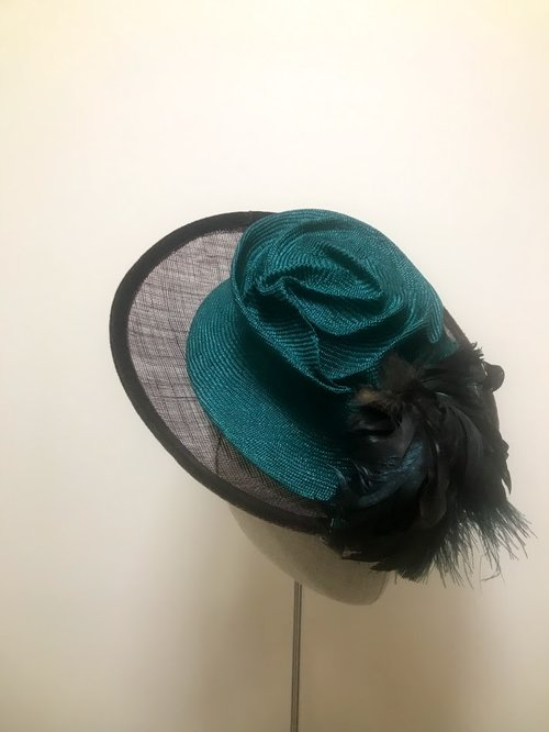 Dark Green Swirl Parasisal Fascinator — Hats by Kat and Accessories Too 4f7d7aa2094