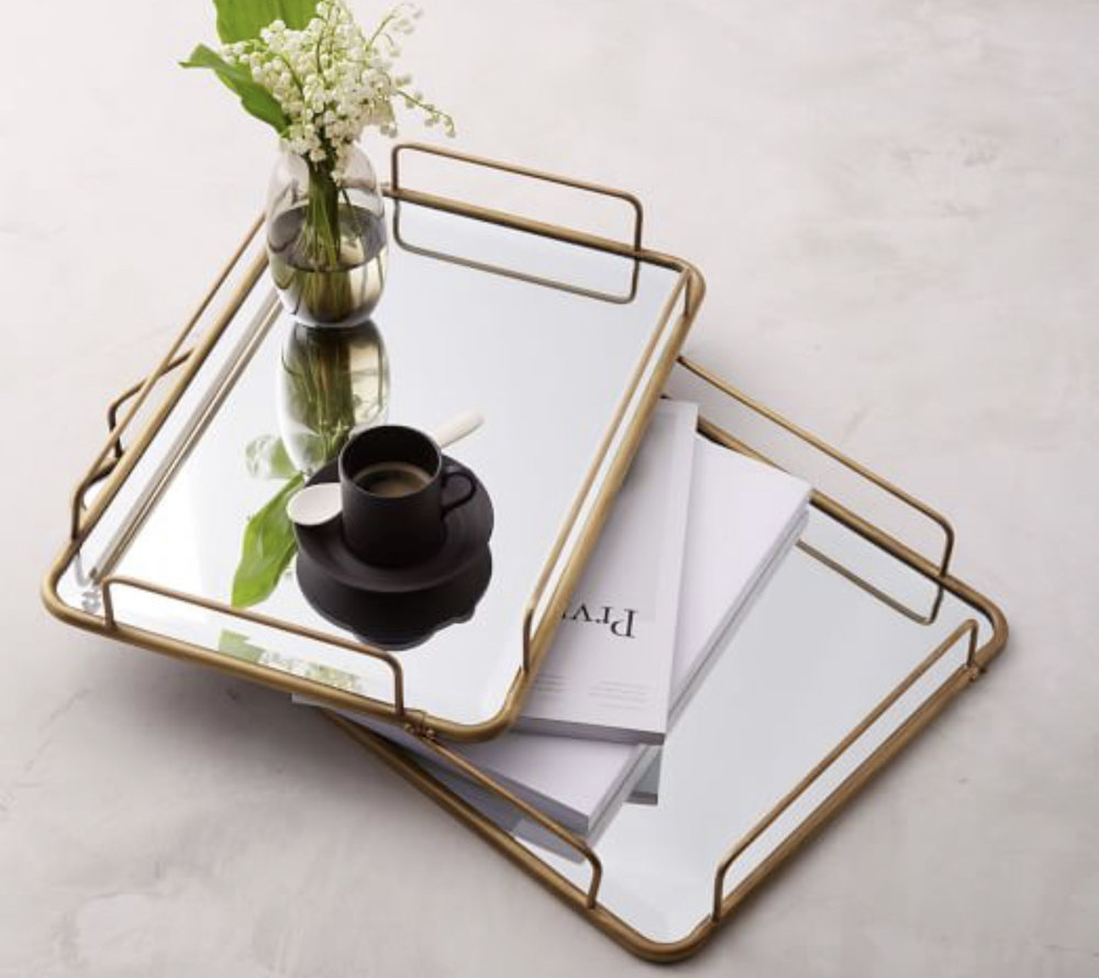 Fishs Eddy Gilded Cafe Mirror Tray (Rectangle & Round)