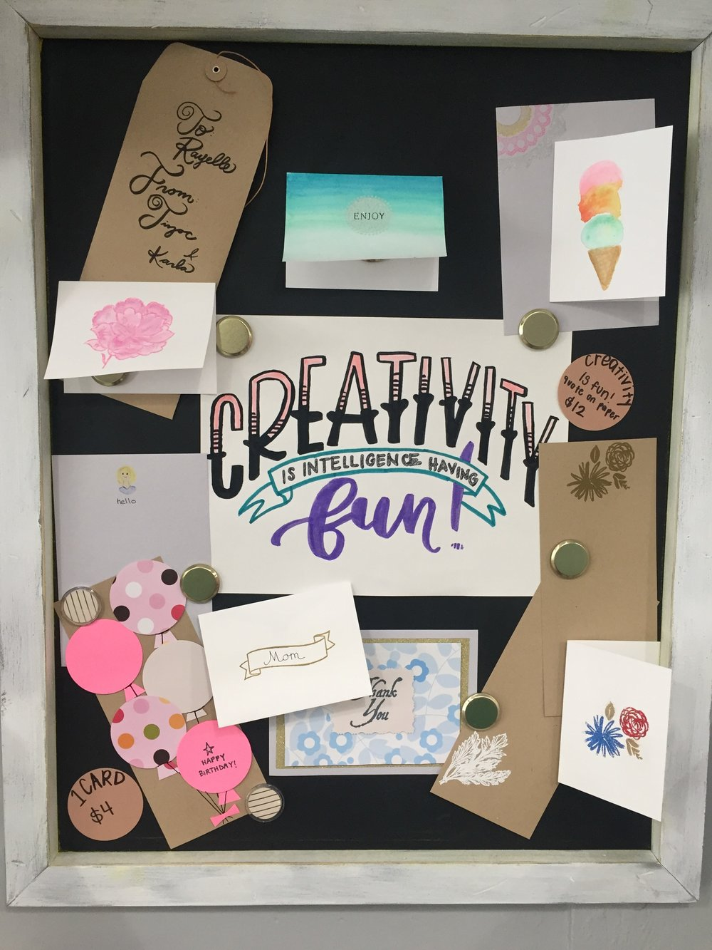 "Paper & Multimedia - 1 card $4 / 3 cards - $129 x 12 mixed media paper - $12""Creativity is intelligence having fun"" hand lettering artwork quote on 9 x 12 mixed media paper for you to color and customize - $12"