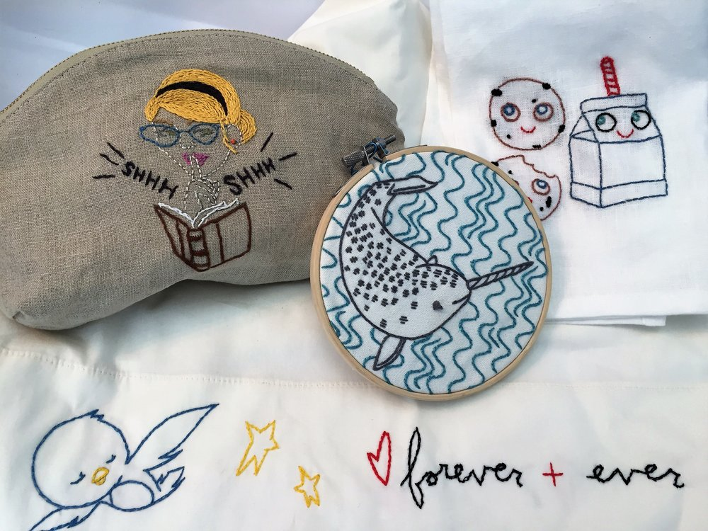 Embroidery - Studio MME Kits - $25-30All projects below come with a Sublime Stitching pattern, embroidery floss set, hoop and 2 needlesBandana - $25Tea towel - $45Set of 4 cocktail napkins - $45Pillowcase - $45Handmade pouch - $55