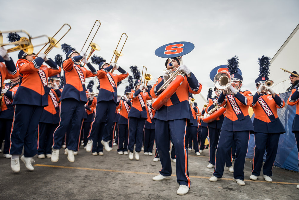 Members of the band practice outside of MetLife Stadium before the Super Bowl on Sunday evening. Excitement was at an all time high during the moments leading up to their big performance.