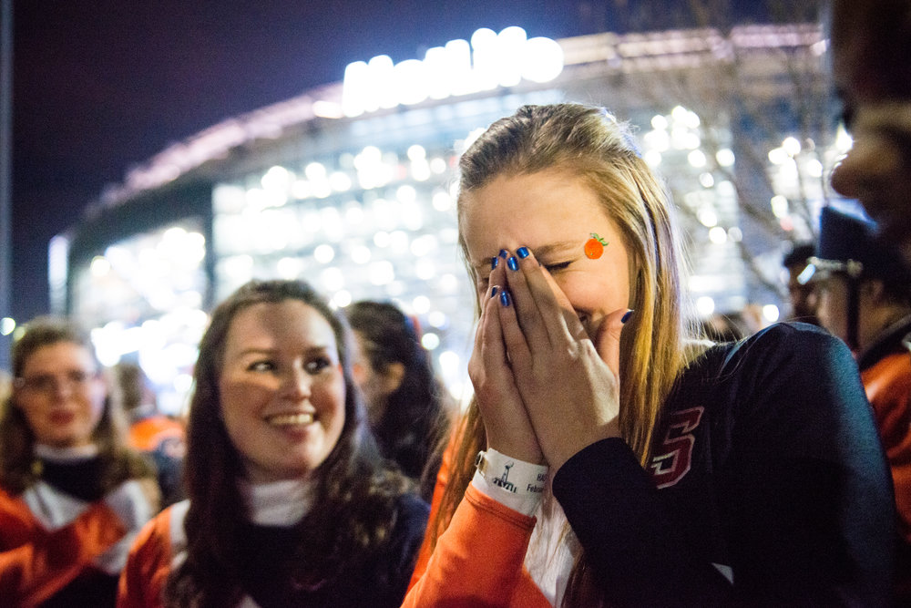 """I don't want to leave,"" Natasha Olejar cries after her performance with the Syracuse University Marching Band at the Super Bowl on Sunday night."