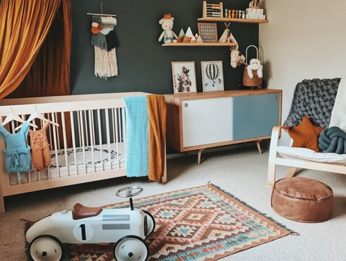 Mannings Nursery - As the moonlight shines and the world seems quite, may you dream of a world as sweet as you.The cot, rocking chair and drawers were all upcycled from Maples nursery, which were sourced from local shops around Geelong.Linen cot sheet https://dazedbutamazed.com/Art and Olliella trolley https://www.3littlecrowns.com/Canopy and star cushion http://numero74.com/Stunning Weave https://www.etsy.com/shop/zoelovesavaCar https://www.instagram.com/davidjonesstore/Ottoman https://onyxandsmoke.com.au/Rug was purchased from ebay, I can no longer find details- I searched boho rug. Little shelf fillers were purchased from small buinesses I found on instagram. Details can be found on insta.