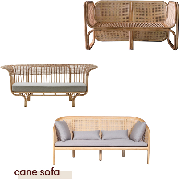 Deux Cane Sofa from  Worn , Belladonna by Sika from  Domo , Curio Cane sofa from  ClickOn