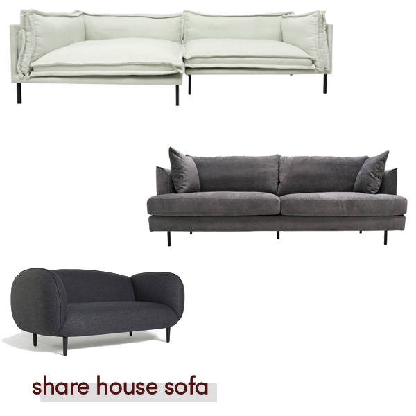 Denver from  Oz Design , Como from  Curious Grace,  Mellow sofa from  Curious Grace