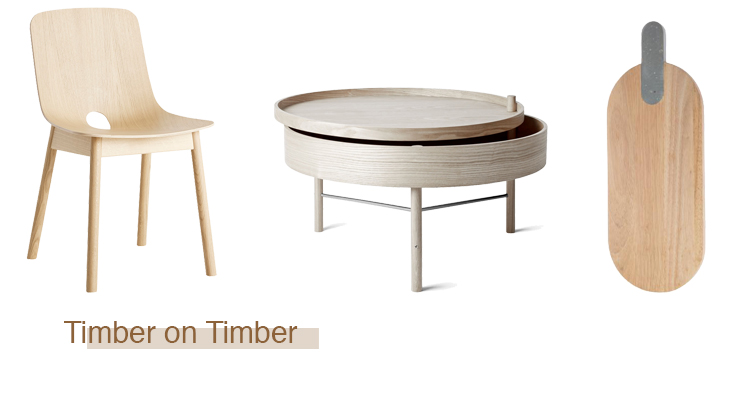 Timber Mono Dining Chair  $990  , Turning Table is perfect for stashing away the remotes under the pivoting top  $1050 , Paddle serving board with a concrete handle  $75