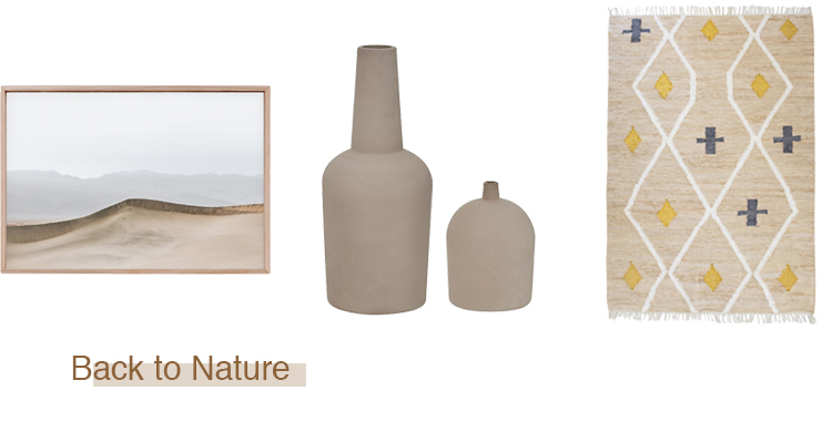 'Desert Haze' by Maegan Brown, Limited Edition Photograph, Raw Tasmanian Oak Shadow Box Frame  $2634.50 .  Dome Terracotta Vases by Kristina Dam Large  $280 , Small  $125 . Odetta Floor Rug small  $449