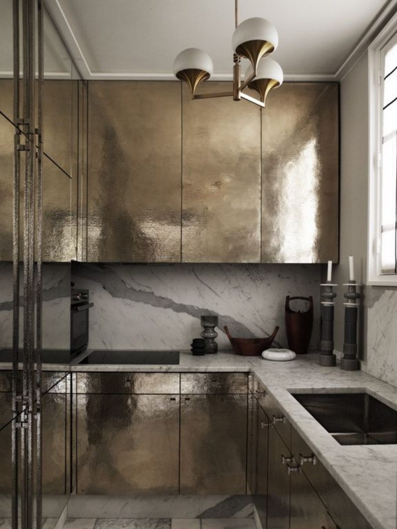 Impossibly gorgeous gold kitchen by Jean-Louis Deniot.