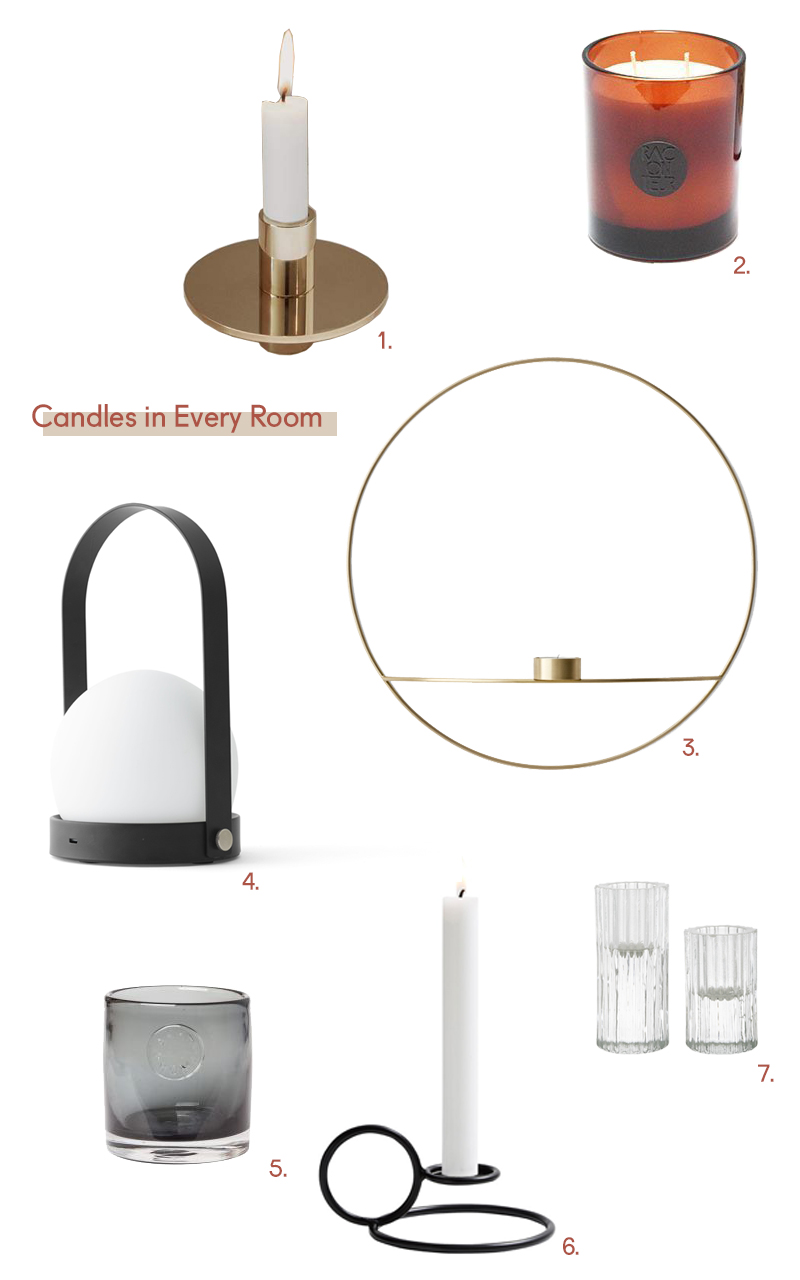 1.  Antipode  Candle Holder $188. 2.  Bondi 2:  Giant Fern Candle $69. 3.  POV Circle  Tealight Candleholder by Note Design Studio. $155. 4.  Carrie Lamp  $349. 5.  Glass Votive . $37. 6.  Radius  Candleholder small $59.95. 7.  Ribb Candle holders  set of 2 $32.50.