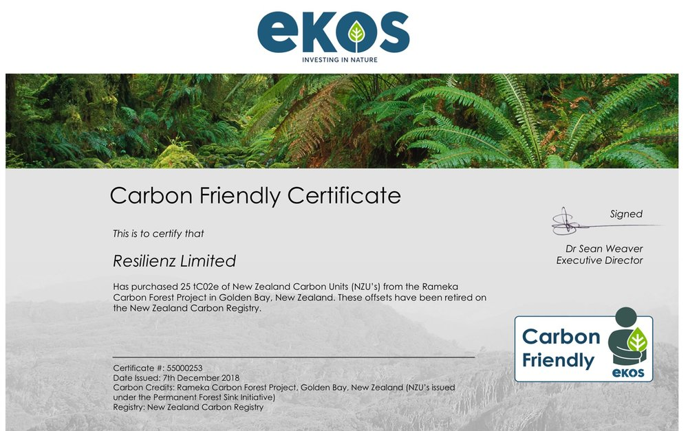 Ekos certificate for Resilienz Block One Offsets