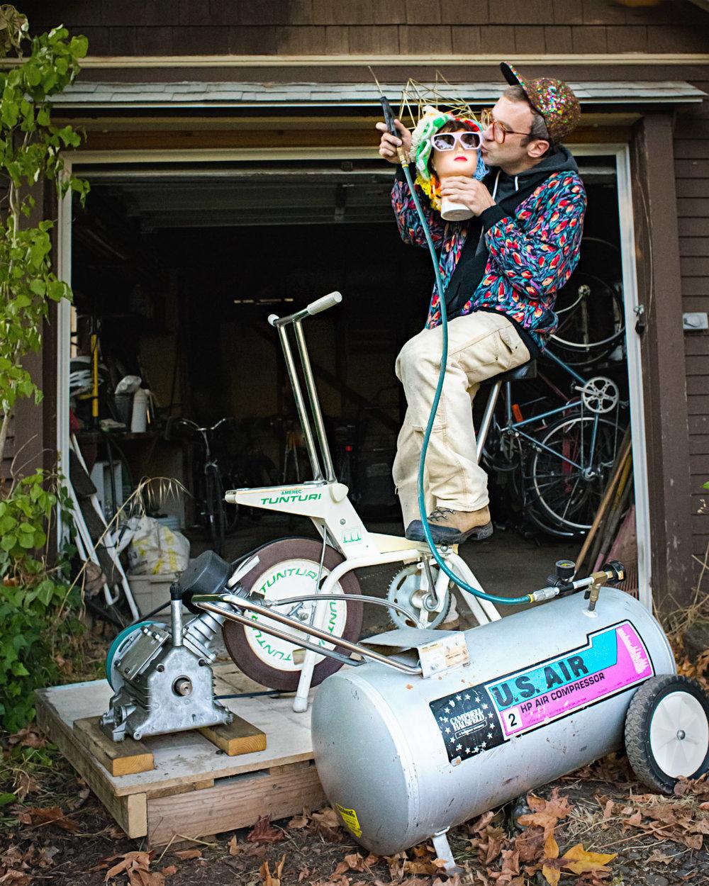 Matthew gets weird on his pedal-powered air compressor