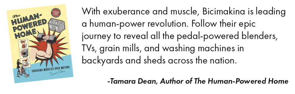 Tamara Dean endorses human powered machine tv show Bicimakina