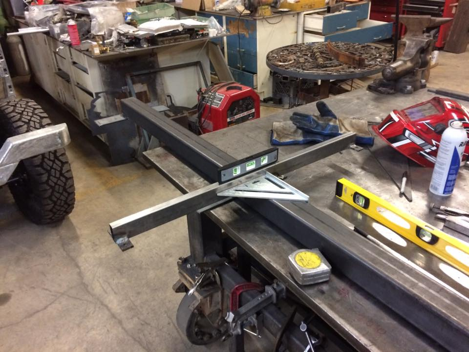 Welding up the chassis for the mobile bike-sauna