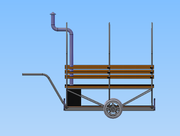 A CAD side view of the mobile bike-sauna