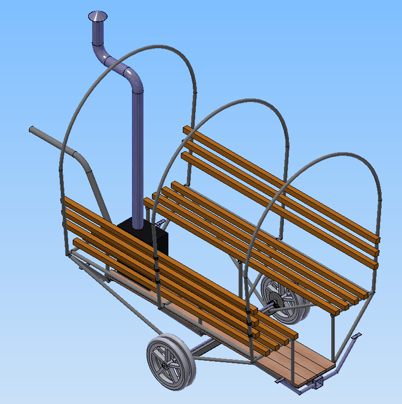 An elevated 3/4 view in CAD of the mobile bike-sauna