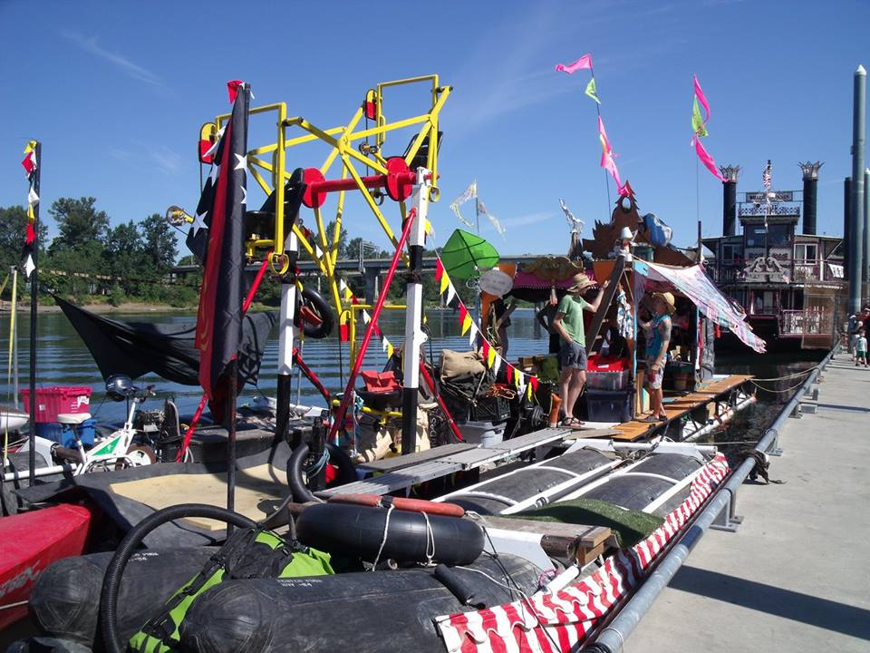 Cyclecide's ferris wheel barge, docked in Salem