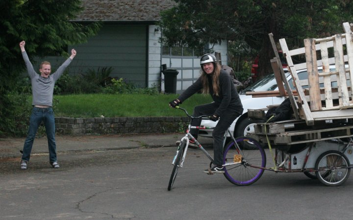 Fun times with bike trailers, Eilif Knutson hauling pallets to set up a quarter-pipe in the heyday of fixed-gear freestyle. The trailer is made from old bike frames cut and brazed together by Carl Gurney.