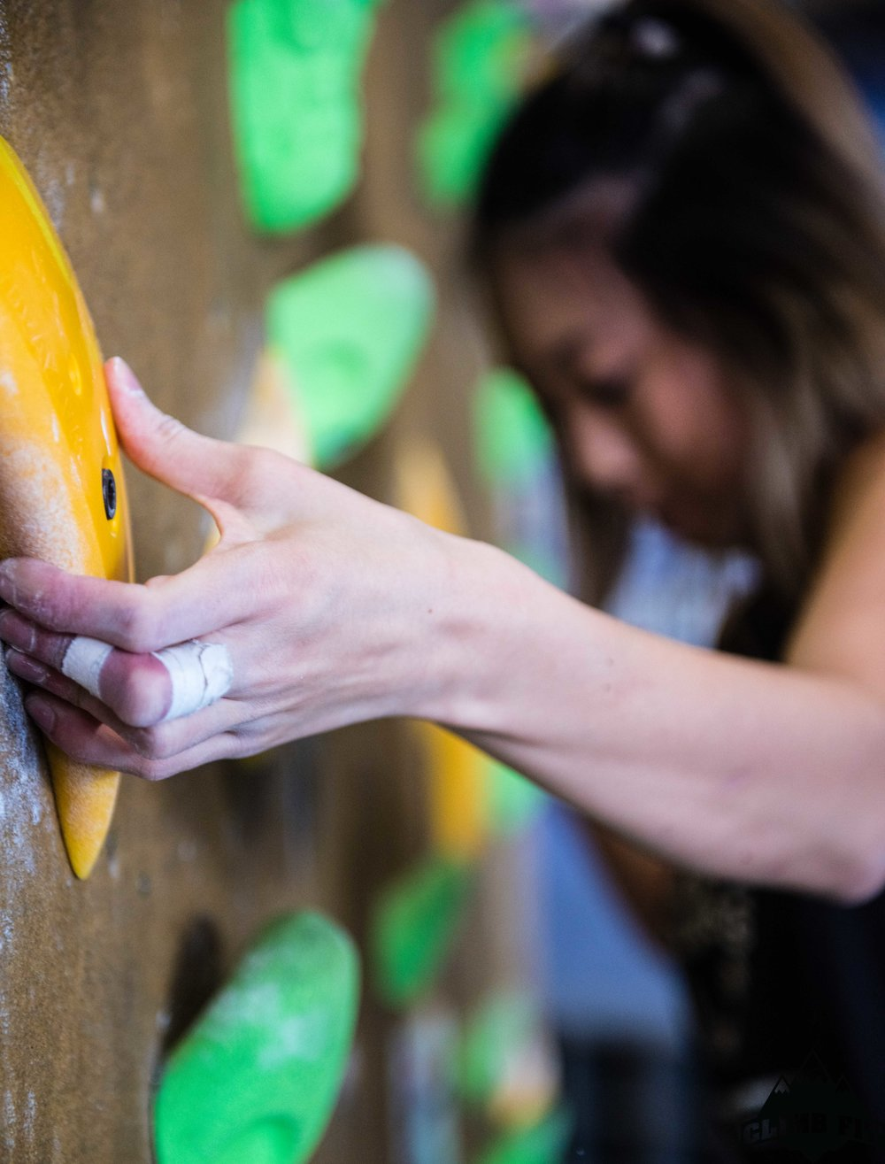 Girl Bouldering Close up