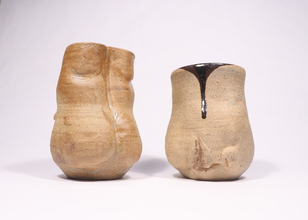 Back to Mouth, Ceramics, Cone 6 Reduction, Left: 3.5 x 3 x 6in, Right: 3.5 x 3.5. x 4.5in,2017.