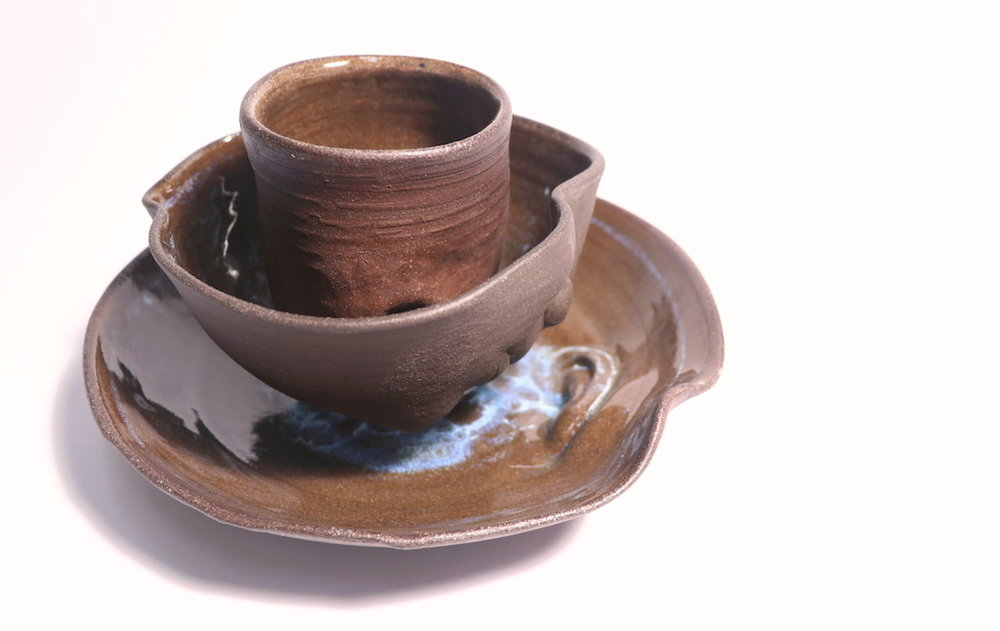 Thumb to Mouth to Ear, Ceramics, Cone 6 Oxidation, Cup: 3 x 3 x 3.5in, Bowl: 6 x 6 x3.5in, Plate: 9 x 9 x 2in, 2017.