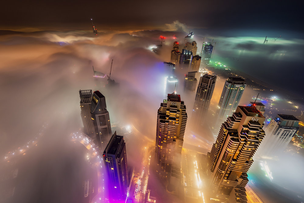Dubai Marina fog at night