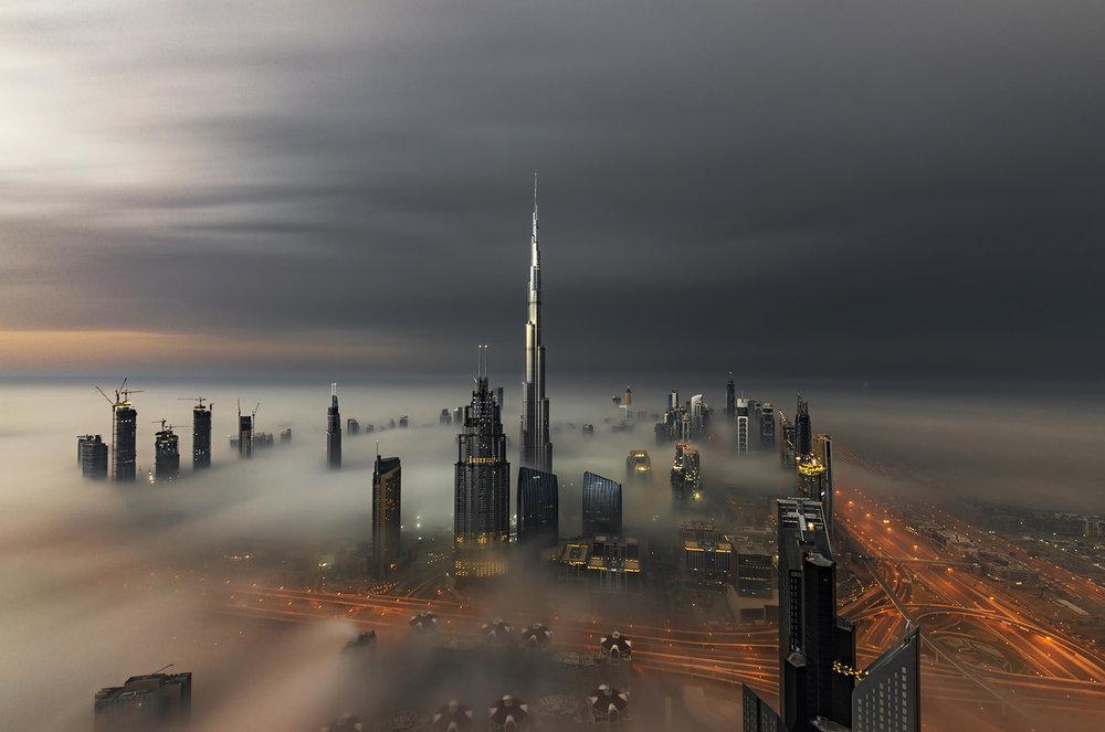Burj Khalifa aerial fog view