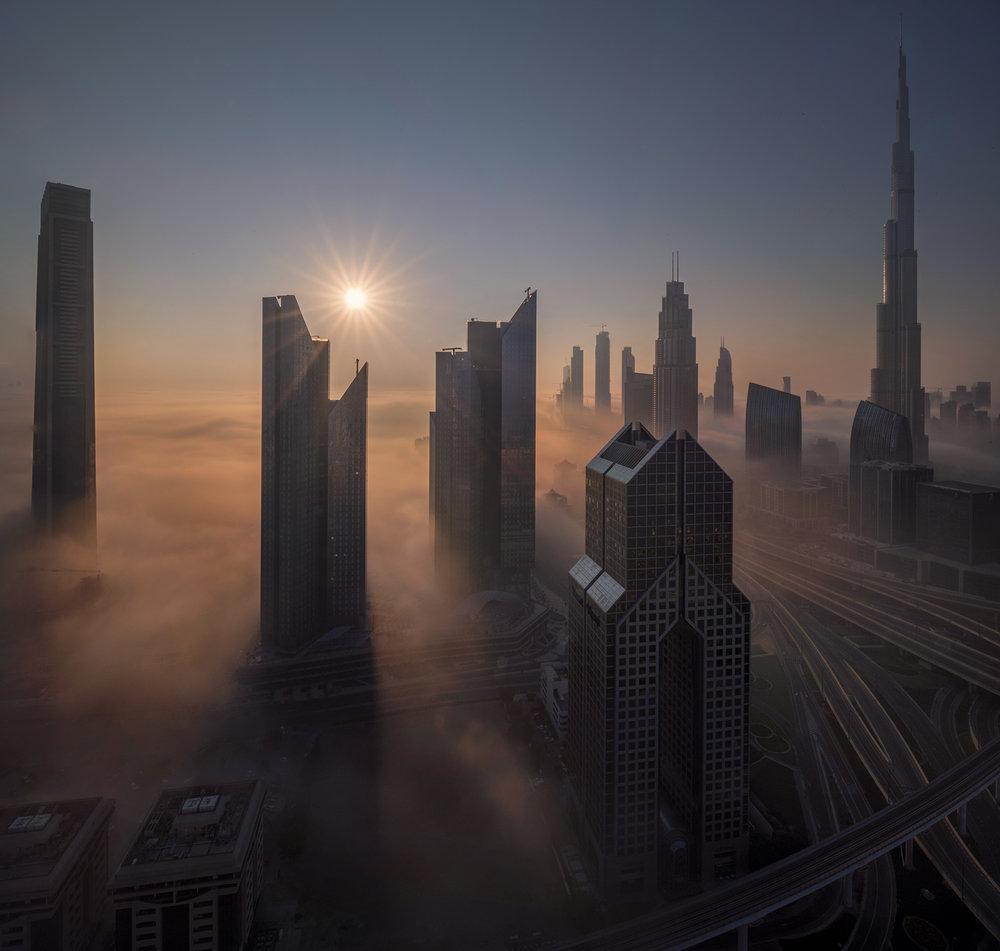 Dubai Fogy sunrise