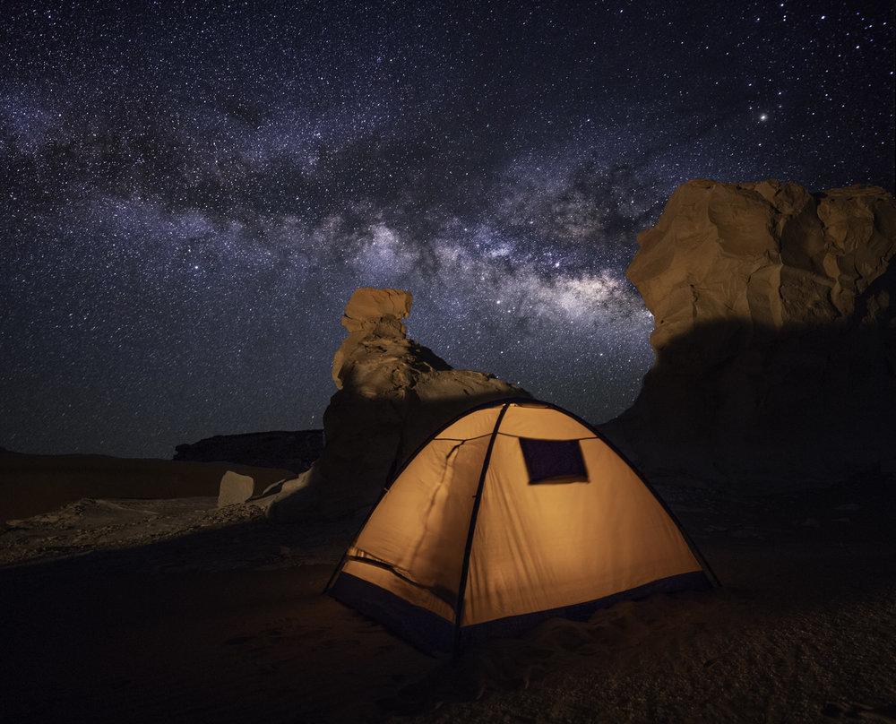 camping under the stars at the white desert Egypt